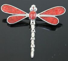 Vintage Hand Crafted Red River Jasper Stone Dragonfly Brooch Pin Pendant
