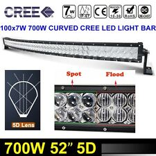 """5D 52"""" 700W Curved CREE LED Light Bar Spot Flood Offroad Combo 4WD Car 54"""" NEW"""