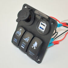 New 12V USB 3 Gang Switch Panel Circuit Rocker Breaker Car Rv Boat Marine Glo