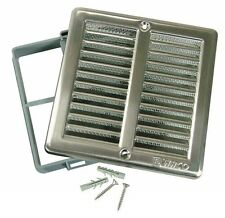 Brushed Stainless Steel Ventilation Grill 200 x 200mm with Insect screen & Frame