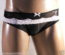 New Sexy Men's Lingerie Sheer Black Bikini Briefs Pink Lace Low Cut Underwear US