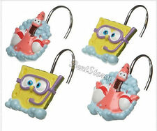 NEW Spongebob Squarepants & Patrick 12 Bathroom Shower Curtain Hooks Nickelodeon