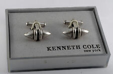 Rare Kenneth Cole Silver Plated Football Design Cuff Link Jewelry NWT in Box