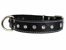 "Genuine Leather Rhinestone Dog Collar 1""wide. Fits 14""-18"" Neck, Spaniel, Poodle"