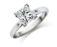 jem:  5mmx5mm PRINCESS CUT SWISS DIAMOND ENGAGEMENT RING in FINE SILVER