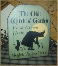 PRIMITIVE HALLOWEEN SIGN~~OLDE WITCH GARDEN~~HERBS~~MAGICK~~