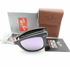 Ray Ban Folding Wayfarer 4105 601S/4K Matte Black Lilac New Sunglasses Authentic