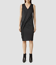 ICONIC ALL SAINTS ANNIS BLACK KNEE LENGTH DRESS SLIP PENCIL SKIRT MIDI XS 6 BNWT