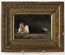 German KPM stye Painted Porcelain Plaque of Reclining Magdalene Circa 1890s