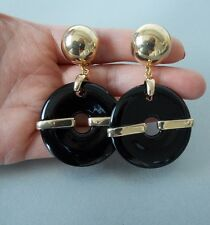 Chunky Black and Gold Clip-On Drop Statement Earrings -UK SELLER