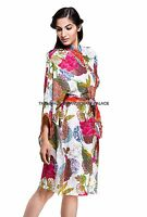 Womens Ladies Floral Print Summer Lightweight 100% Cotton Dressing Gown Robe