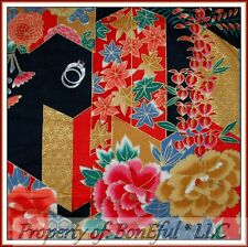 BonEful FABRIC FQ Cotton Asian Red Pink Gold Flower Antique Metallic VTG Kimono