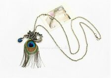 ENCHANTING REAL PEACOCK EYE FEATHER PENDANT NECKLACE GODDESS WITCH PROTECTION