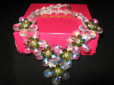 butler & wilson necklace only green flowers new with box statement