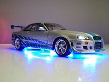 Nissan Skyline Brian's GT-R R34 Fast & Furious Paul Walker 1/18 LED Light Ut RaR