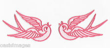pink swallows rockabilly iron on patch tattoo style retro 50's biker patches