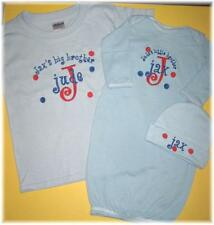Personalized Big & Little BROTHER & SISTER T SHIRT & Baby SLEEPER & HAT SET