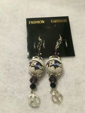 BALTIMORE RAVENS EARRINGS GLASS BEAD  NFL JEWELRY  HOOK STYLE  HANDCRAFTED CHARM