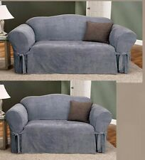 2-PC Soft Micro Suede Couch Sofa Love seat  Slip covers Gray New