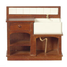 DOLLHOUSE MINIATURE Victorian Country Small  Sink w/Drawers and Shelving 1:12