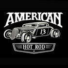 American Hot Rod GearHead Car Rat Rod garage logo on front silk screen T-Shirt