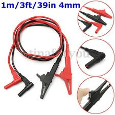 2pc 4mm Silicone Test Lead + Alligator Clip Multimeter Pen HV Test Clips Probes