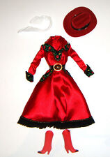 Barbie Fashion Red Dress/Hat/Boots For Barbie Doll hf11