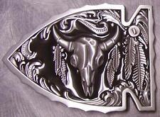 Pewter Belt Buckle animal Longhorn Steer Skull Arrow N