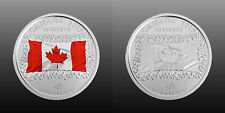 Canada 2015 25 cent SET 50th Anniversary of Canadian Flag (2 coins)