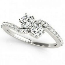 925 Sterling Silver Two Stone Cubic Zirconia Engagement Bypass Ring DVVS 0.75 Ct