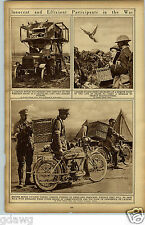 1919 British Motorcycles Carrier Pigeon Baskets WWI World War I Rotogravure