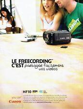 PUBLICITE ADVERTISING 116  2008  Canon  caméra double mémoire HF 10 vidéo