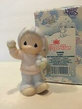 Enesco Precious Moments Sugar Town SAMMY Boy w/Snowballs Figurine EUC
