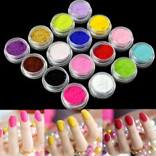 Nail Art Nail Powder Tips Fuzzy Flocking Velvet Tools 16 Colors+Tweezer