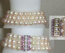 Perlen-Armband 3-Reihig 585er Goldverschluß mit Perlen und Rubinen (da4152)