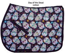 "COOL ""DAY OF THE DEAD"" BLACK SKULL FLOWERS ENGLISH DESIGNER PRINT SADDLE PAD"