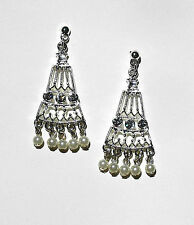 1928 co. Crystal & Cream Faux Pearl Chandelier Earrings Polished Silver Tone