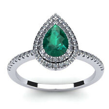 14K WHITE GOLD 1 CARAT PEAR SHAPE GENUINE EMERALD AND DOUBLE HALO DIAMOND RING