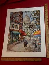 """vtg 1960's (?) large 21"""" print Paris Place Du Tertre colorful art decor French"""