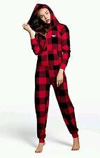 Victoria's Secret Pink Red Brick Sherpa Hooded Long Jane Onesie PJ's, M, NIP