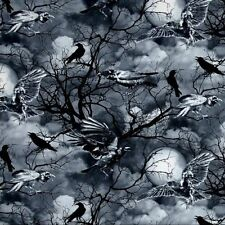 Wicked Halloween Night Spooky Ravens and Crows Cotton Fabric by the Yard