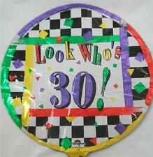 "NEW 18"" 30th Birthday Mylar Foil Balloon Multi-Colored Look Who's 30!"