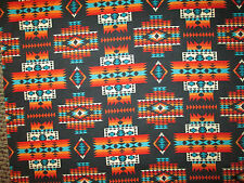 Navajo Indian Multi II  Orange Teal Cream Black Print Cotton Fabric FQ