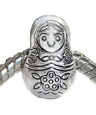 Russian Doll Russia Travel Toy Bead Gift fits Silver European Charm Bracelets