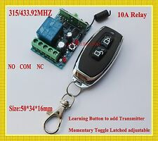 DC 12V 1 CH Relay Receiver Remote Control Switch315/433 Electric Control Lock TX