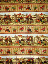 Fall Fabric - Autumn Bounty Wheel Barrow Pumpkin Barn Fence SPX Spectrix - Yard