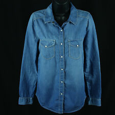 Rare Hinge Chambray Shirt Size XS Extra Small Denim Pearl Snap Blue Jean Western