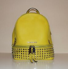 NWT Authentic MICHAEL Michael Kors Leather Rhea Zip Small Studded BackPackCANARY