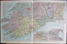 1896 LARGE VICTORIAN MAP- IRELAND SOUTH PARLIAMENTARY DIVISIONS INSET DUBLIN COR