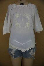 Vtg 60s 70s White Embroidered Lace Ribbon Boho Hippie Festival Top Blouse Small